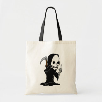 Humorous Grim Reaper giving the Finger Tote Bags