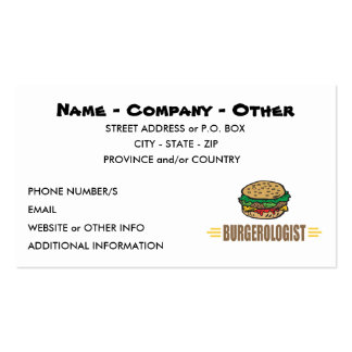 Humorous Hamburger Pack Of Standard Business Cards