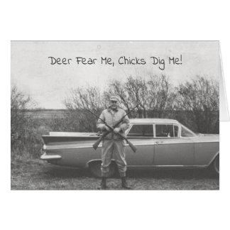 Humorous Hunter Deer Hunting Old Automobile Card