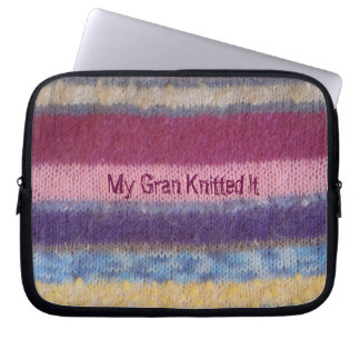 humorous knitted colorful stripes design computer sleeves