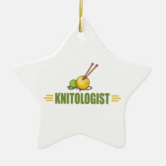 Humorous Knitting Ceramic Ornament