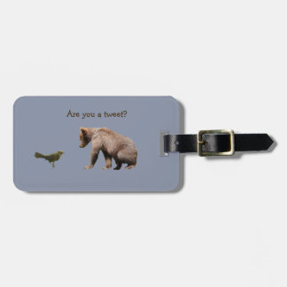 Humorous Luggage Tag w/ leather strap and bear cub