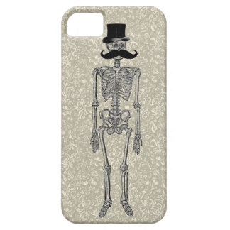 Humorous Mustache on Skeleton FLORAL iPhone Case iPhone 5 Cases