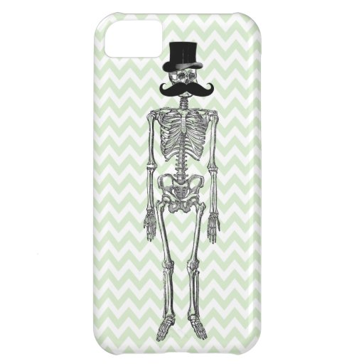 Humorous Mustache on Skeleton LIME iPhone Case Cover For iPhone 5C