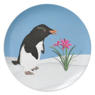 Humorous Penguin and Pink Flowers Plates