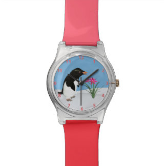 Humorous Penguin and Pink Flowers Wristwatch
