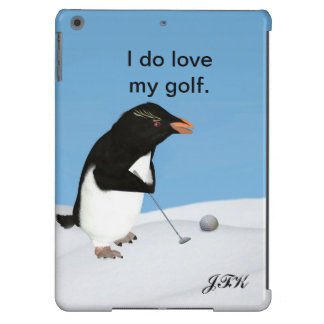 Humorous Penguin Playing Golf, Customizable Text Cover For iPad Air