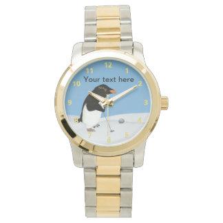 Humorous Penguin Playing Golf Customizable Wristwatches