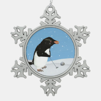 Humorous Penguin Playing Golf Pewter Snowflake Decoration
