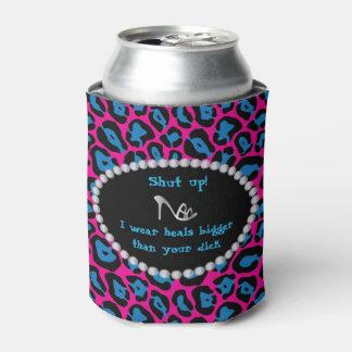 Humorous -Pink/Blue Leopard, Diamonds Heals bigger Can Cooler