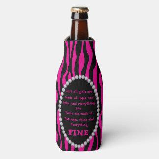 Humorous - Pink Zebra, Diamonds Not all Girls Bot Bottle Cooler