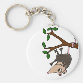 Humorous Possum Dangling from Tree Basic Round Button Key Ring