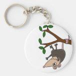 Humorous Possum Dangling from Tree Keychains