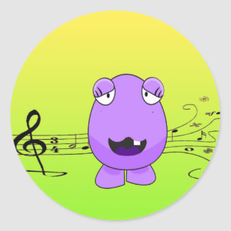 Humorous Purple Monster Singing Off Key Classic Round Sticker