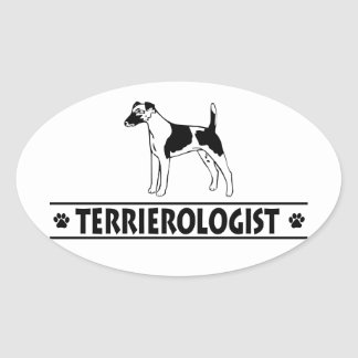 Humorous Smooth Fox Terrier Oval Sticker