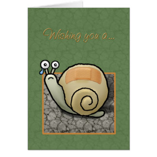 "Humorous snail ""Speedy recovery"" card"
