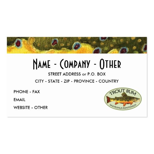 Humorous Title for Trout Addicts Business Card Templates