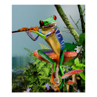 Humorous Tree Frog Playing the Flute Poster