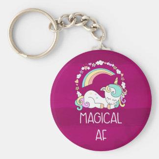 Humorous Unicorn Magical AF on Dark Red Pattern Key Ring