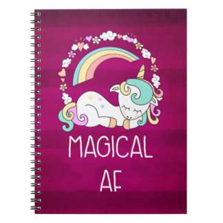 Humorous Unicorn Magical AF on Dark Red Pattern Notebook