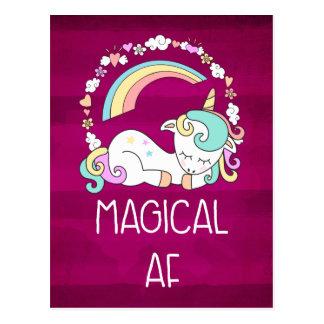 Humorous Unicorn Magical AF on Dark Red Pattern Postcard