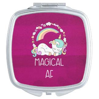 Humorous Unicorn Magical AF on Pinkish Red Pattern Vanity Mirror