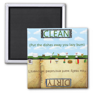 Humorus Clean Dirty Dishwasher Square Magnet