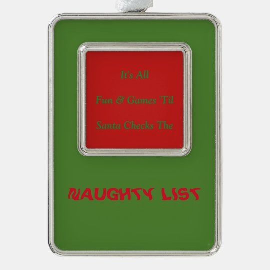 Humourous Christmas Naughty List Decorative Silver Plated Framed Ornament
