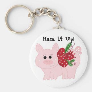 Humourous Christmas Pig - Ham it Up! Key Chain