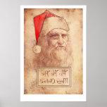Humourous Leonardo da Vinci as Santa Poster