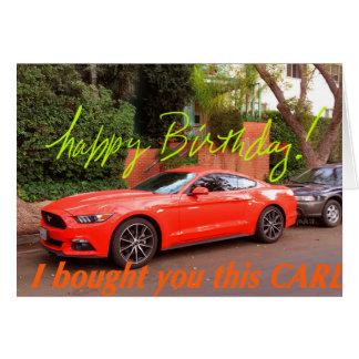 Humourous Orange Car Birthday Card