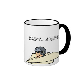 Humourous paper aeroplane and pilot ringer mug