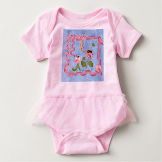 Humourous Sweet Peas Pink & Mauve Flower People Baby Bodysuit