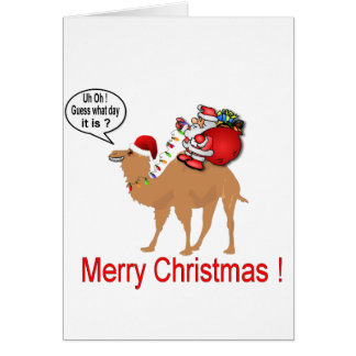 Hump Day Camel Christmas with Santa Greeting Card