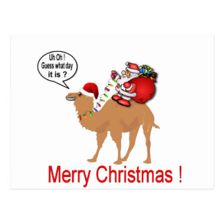 Hump Day Camel Christmas with Santa Postcard