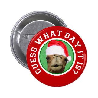 Hump Day Camel Santa Christmas Button