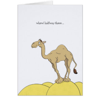 Hump Day Cards, Camel On Desert Sand Hump Cartoon Greeting Card