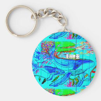 humpback whale and calf keychain basic round button keychain