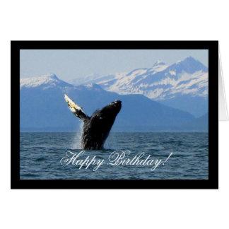 Humpback Whale Breaching; Happy Birthday Card