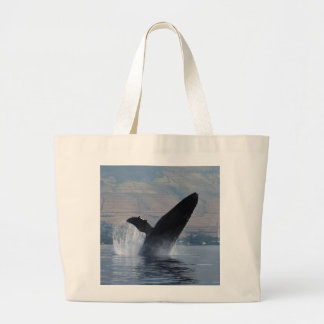 humpback whale breaching large tote bag