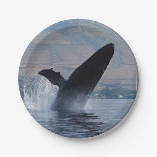 humpback whale breaching paper plate