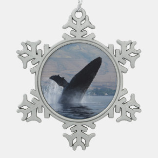 humpback whale breaching snowflake pewter christmas ornament