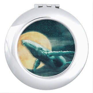 Humpback Whale Flying to The Moon Compact Mirror