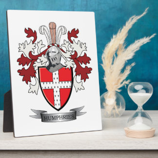 Humphries Family Crest Coat of Arms Display Plaque
