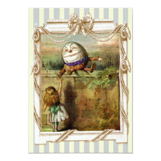 Humpty Dumpty and Alice blue and white stripes Card