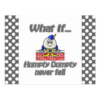 humpty dumpty never fell postcard