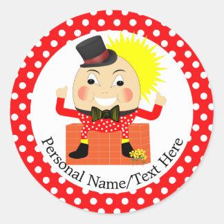 Humpty Dumpty Nursery Rhyme Cute Personalized Classic Round Sticker