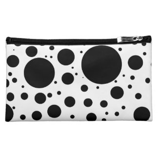 Hundreds of Black Dots and Circles in Varying Size Cosmetics Bags