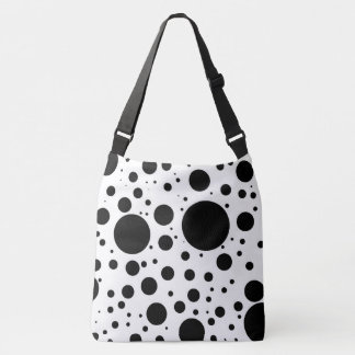 Hundreds of Black Dots and Circles in Varying Size Crossbody Bag