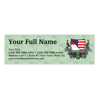 Hungarian-American Shield Flag Double-Sided Mini Business Cards (Pack Of 20)